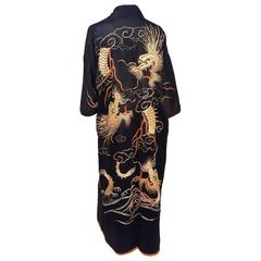 Japanese Kimono w/ Golden Dragon Embroidery