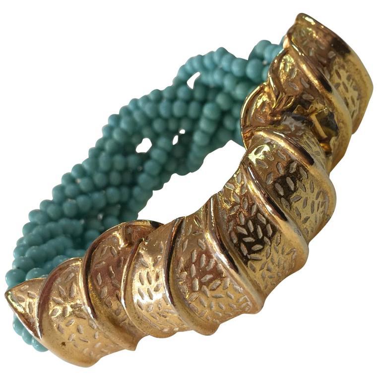 60s DeLillo Multistrand Faux Turquoise Tourcade Bead Bracelet Caterpillar Clasp For Sale