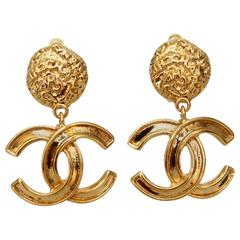 A Pair of 1990s Chanel Clip-on Logo Earrings