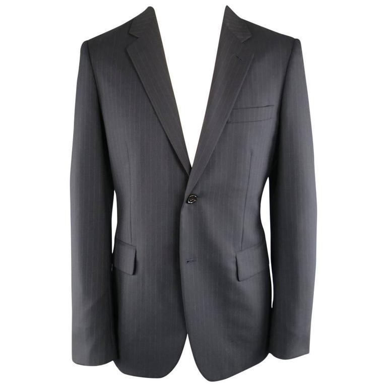 Men's COMME des GARCONS 40 Black Pintripe Wool Notch Lapel Sport Coat