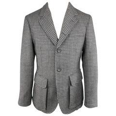 Men's EMPORIO ARMANI 40 Grey Houndstooth Wool Patch Pocket Sport Coat