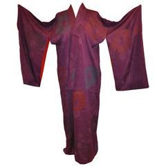 Violet on Violet Silk With Multi Shade Floral Kimono