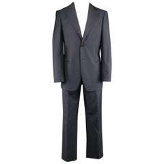 Men's GIORGIO ARMANI 40 Regular Navy & Brown PinStripe Wool 32 32 Suit