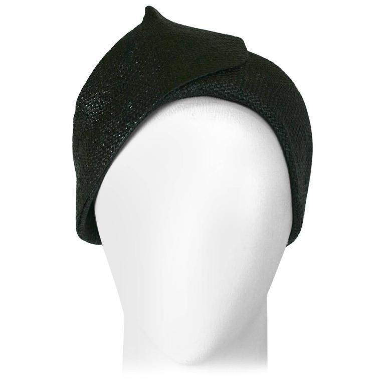 Lanvin by Claude Montana Haute Couture Straw Cloche Hat