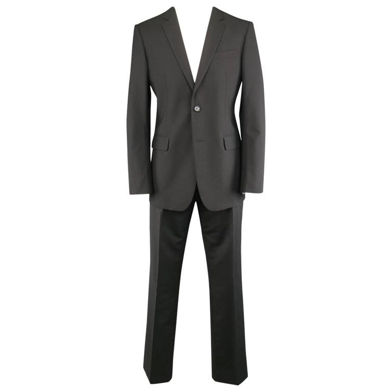 Men's BURBERRY LONDON 40 Regular Black Solid Wool Blend 34 34 Suit