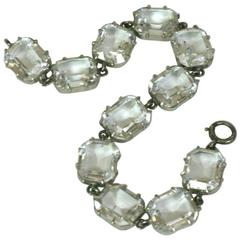 Art Deco Crystal Paste Link Bracelet
