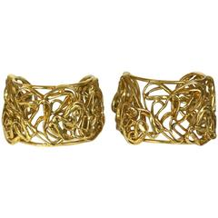 Yves Saint Laurent Sculptural Heart Cuffs