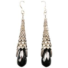 UGO CACCIATORI Sterling Silver Black Amethyst Dangle Earrings