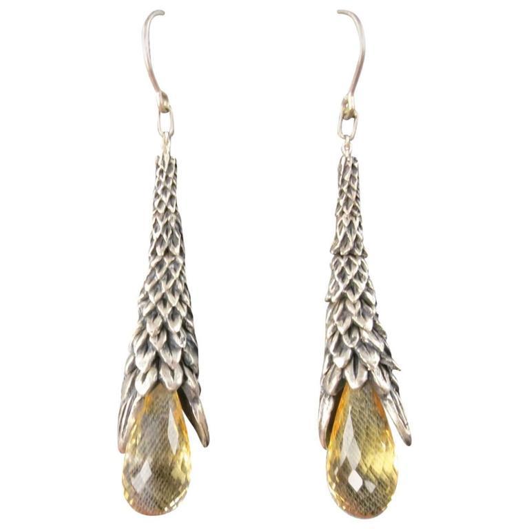 UGO CACCIATORI Sterling Silver Smoky Quartz Dangle Earrings For Sale