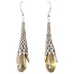 UGO CACCIATORI Sterling Silver Smoky Quartz Dangle Earrings