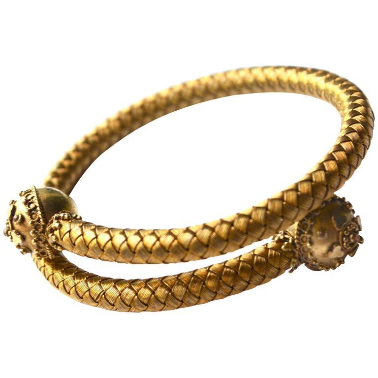 14K Victorian Wrap Etruscan Bracelet. 1