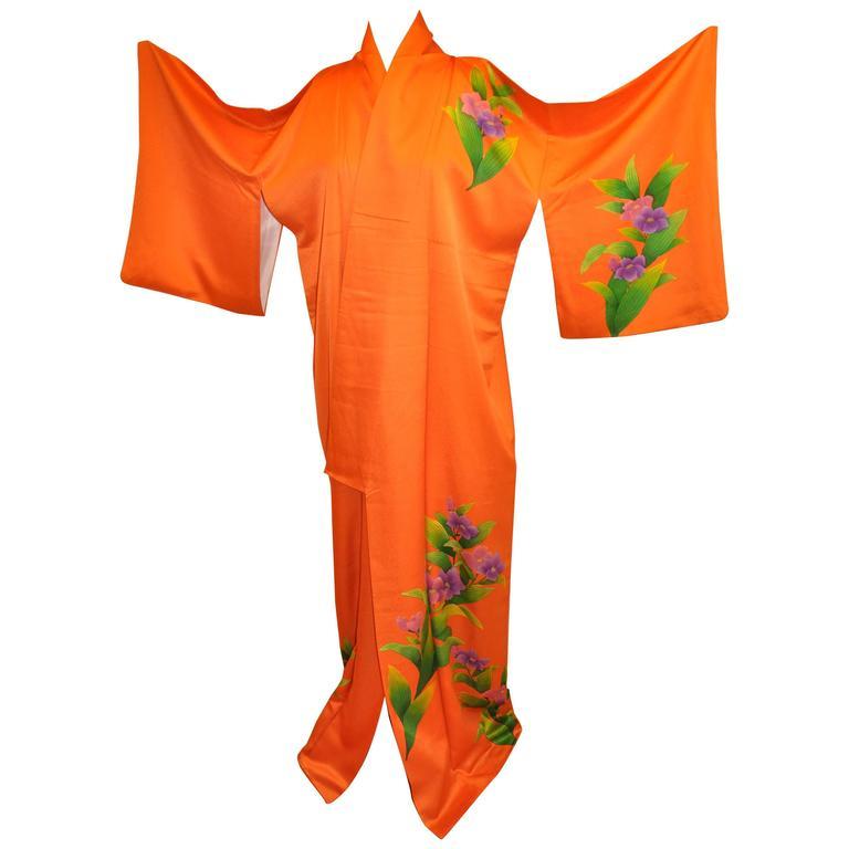 "Bold Tangerine with Multi-Color ""Floral & Leaves"" Silk Kimono"