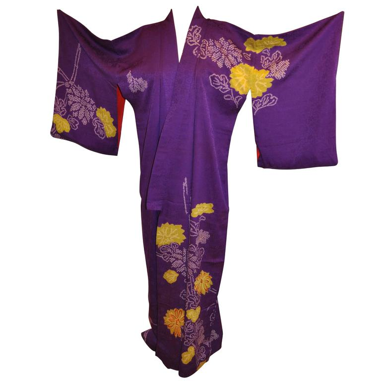 Floral Violet with Multi Hand-Embroidered Accents Silk Kimono