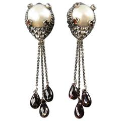 Sterling Silver Amethyst Tear Drops Pearl Earrings