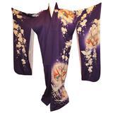 "Bold Violet with ""Floral & Origami Cranes"" Silk Kimono"