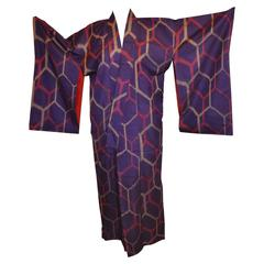 Violet Accented with Steel-Gray & Raspberry Shades Silk Kimono