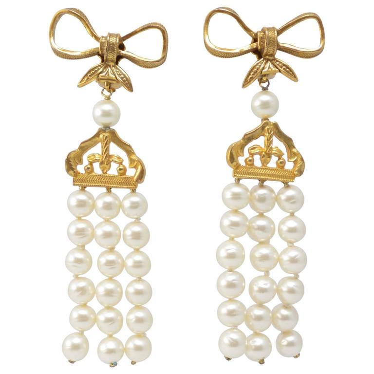 Chanel massive 4 pearl drop chandelier earrings vintage 1970s at chanel massive 4 pearl drop chandelier earrings vintage 1970s for sale mozeypictures Images