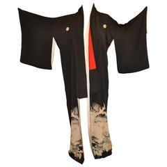 "Black Silk Accented with ""Pair of Birds in Garden"" Kimono"