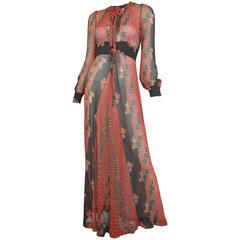 Thea Porter 1970's Print Maxi Dress