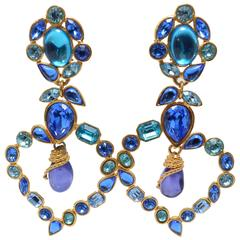 Yves Saint Laurent Rive Gauche Runway 1980s Heart Drop Earrings