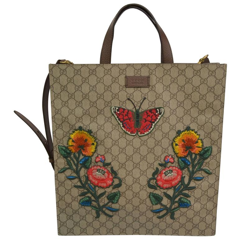 Gucci Supreme Embroidered Butterfly Tote 2016/7 For Sale