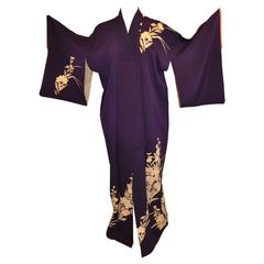 Violet Accented with Cream Florals & Metallic Gold Etching Silk Kimono