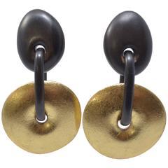 Monies Gold Foil & Wood Earrings