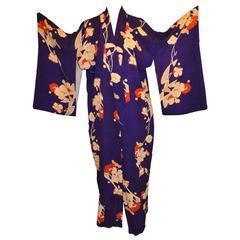 Purple On Purple Floral with Multi-Color Floral Silk Kimono
