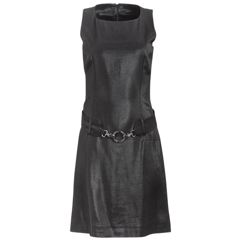 1980's Paco Rabanne Black Silk Belted Mini Dress