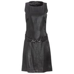 1980's Paco Rabanne Black Silk Belted Mini Dress