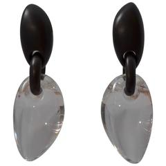 Monies Lucite and Wood Drop Earrings