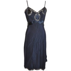 Midnight Blue Silk Embroidered with Lace Detailing Slip Dress