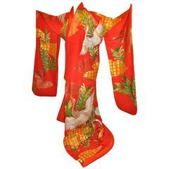"""Elaborate Bold Red """"Ceremonial Cranes"""" Silk Kimono"""