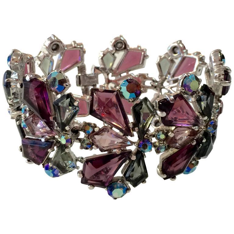RARE 1960s Schiaparelli Amethyst Link Bracelet Clip On Earring Set 1