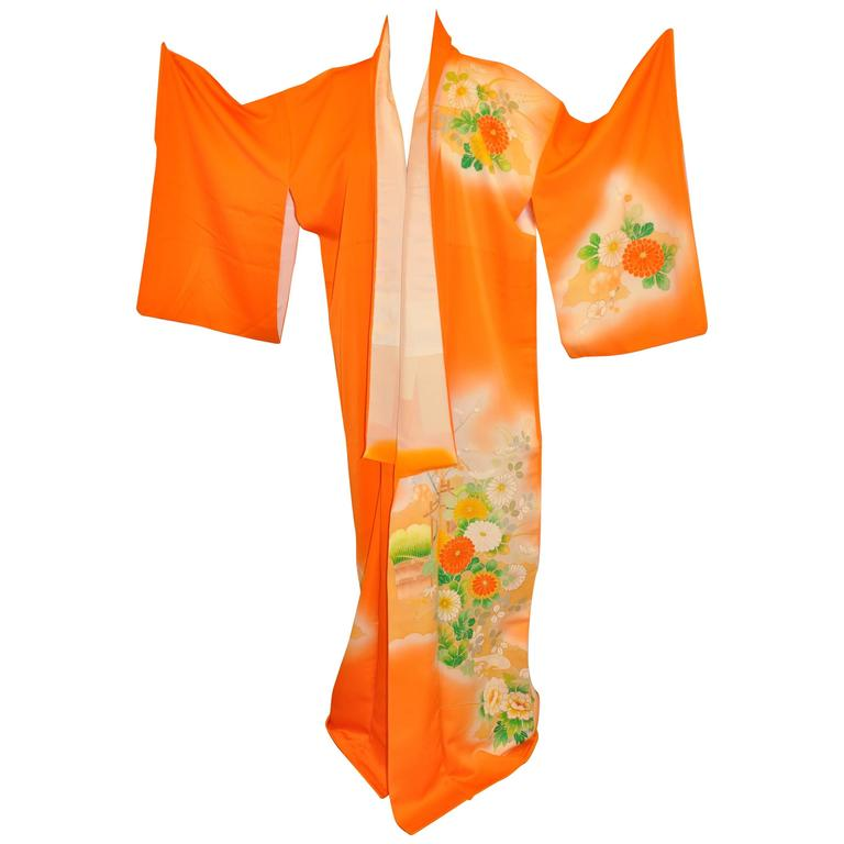 Warm Tangerine Silk With Multi-Color Floral Kimono