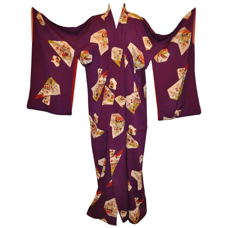 Bold Violet with Scattered Confetti of Multi Floral Abstract Blocks Silk Kimono