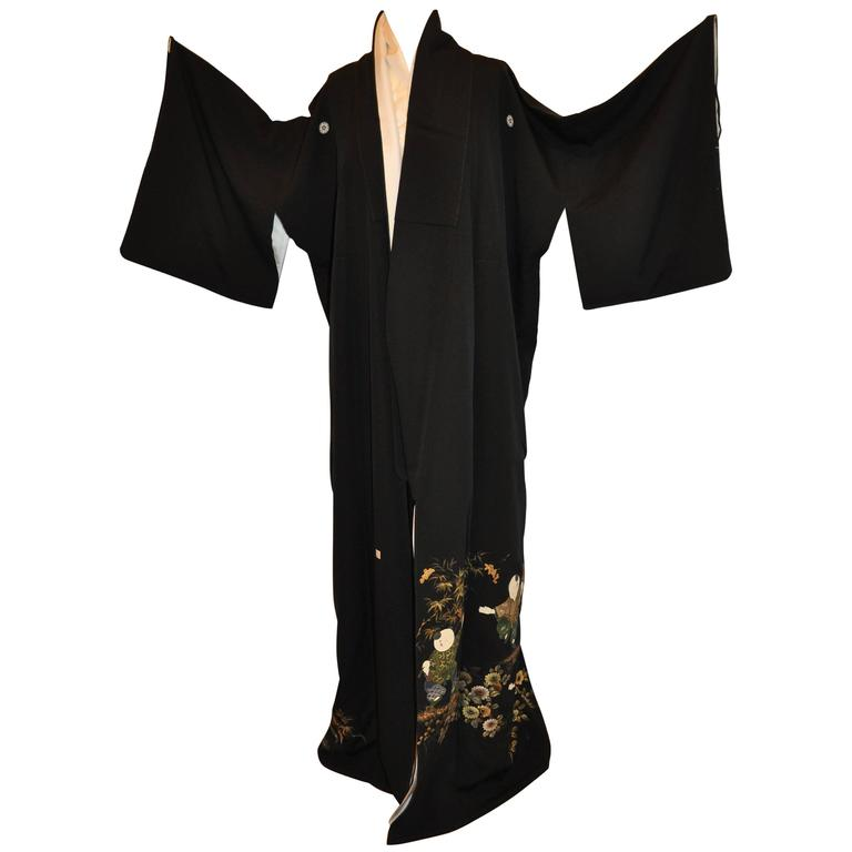 "Black with Multi-Colored Detailed ""Whimsical Children & Floral"" Silk Kimono"