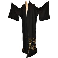 """Black with Multi-Colored Detailed """"Whimsical Children & Floral"""" Silk Kimono"""