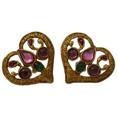 Christian Lacroix 1980's Heart Clip Earrings