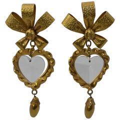 "Christian Lacroix Massive 4"" 1980's Lucite Heart Earrings"