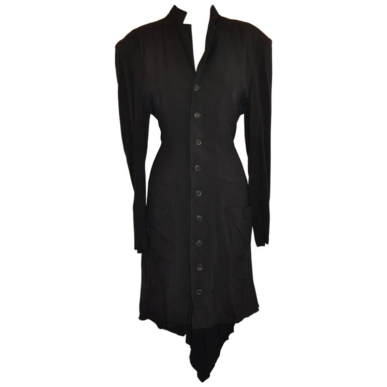 "Yoji Yamamoto ""Gothic Collection"" Black Deconstructed Button Coat/Dress"