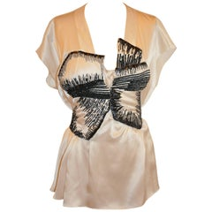 Rue du Mail (Paris) Pearl Silk Crepe di Chine & Micro Seed and Sequin Top