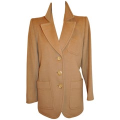 Yves Saint Laurent Camel-Hair Fully-Lined Camel Three-Button Jacket