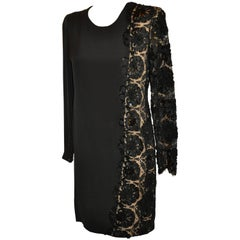 Bill Blass Black Silk Crepe di Chine & French Lace Accented Cocktail Dress