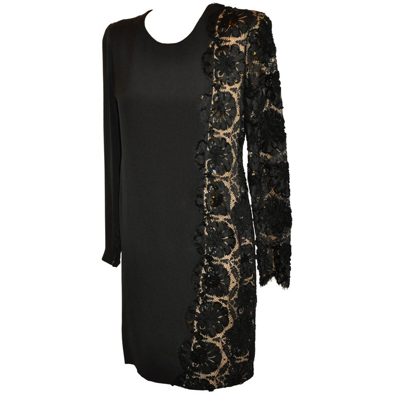 Bill Blass Black Silk Crepe di Chine & French Lace Accented Cocktail Dress For Sale