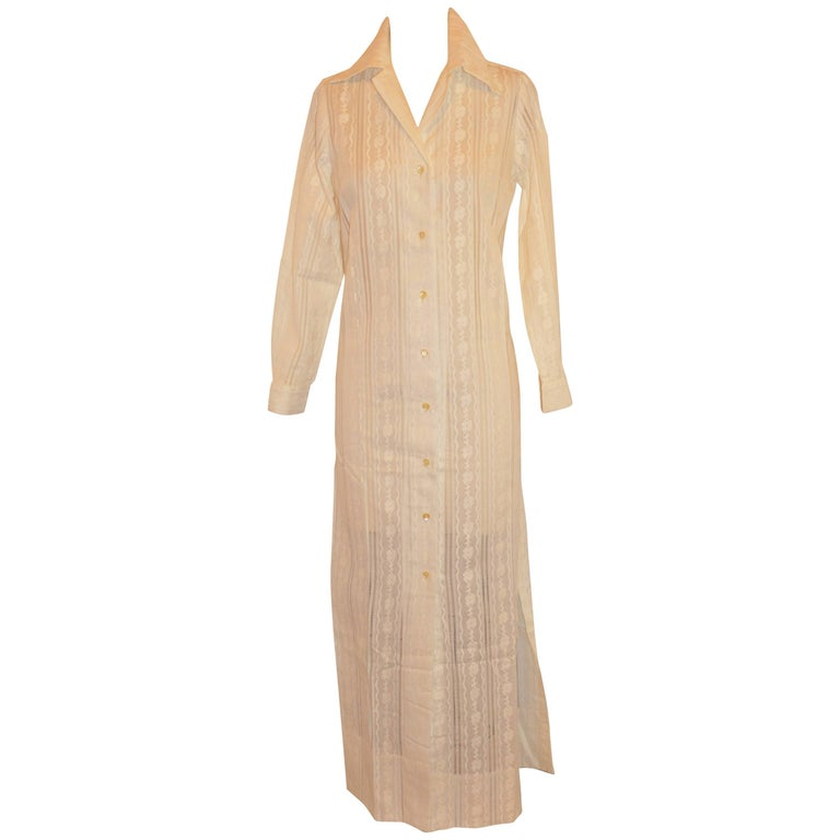 Ivory Cotton Embroidered & Eyelet Maxi Button with High Slits Coat/Dress
