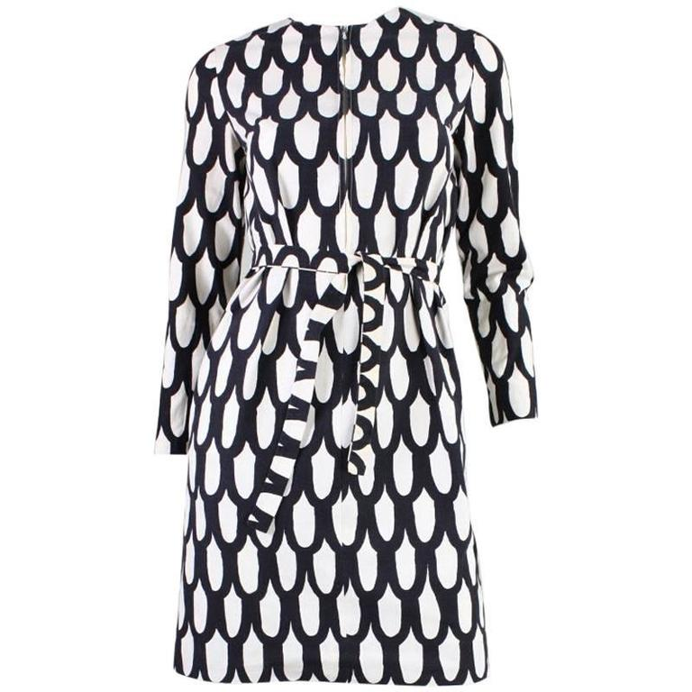 1965 Marimekko Black & White Printed Dress