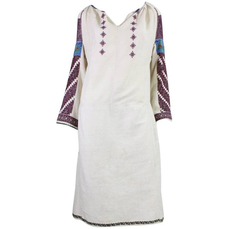 Vintage Eastern European Hand Embroidered Linen Dress