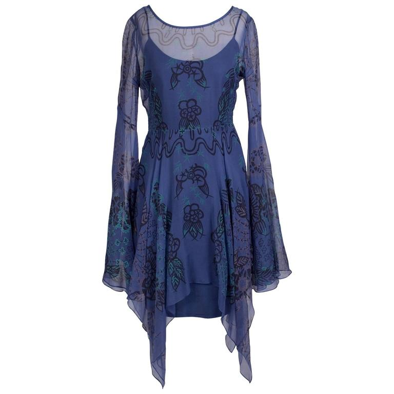Zandra Rhodes Silk Peasant Dress with Print circa 1970s For Sale