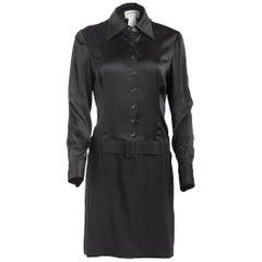 1980's Paco Rabanne Black Silk Shirt Dress